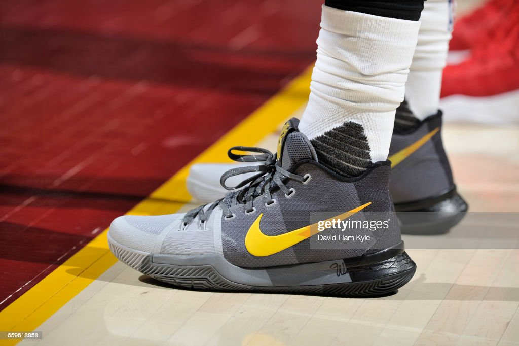 The sneakers of Kyrie Irving #2 of the Cleveland Cavaliers are seen during a game against the Washington Wizards on March 25, 2017 at Quicken Loans Arena in Cleveland, Ohio.
