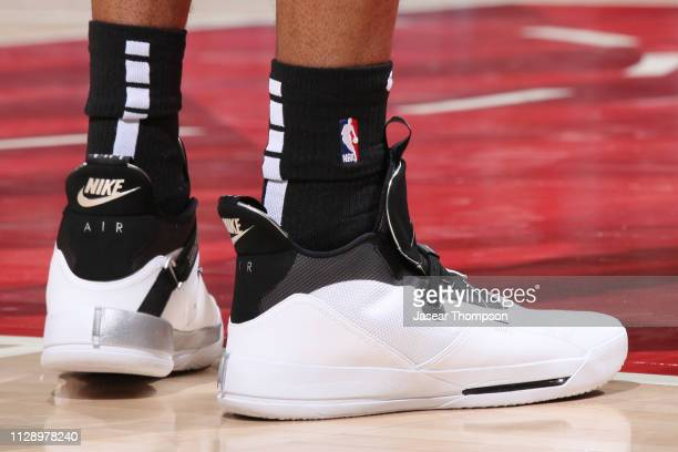 The sneakers of LaMarcus Aldridge of the San Antonio Spurs are seen against the Atlanta Hawks on March 6 2019 at State Farm Arena in Atlanta Georgia...