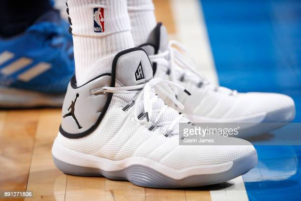 The sneakers of LaMarcus Aldridge of the San Antonio Spurs are seen during the game against the Dallas Mavericks on December 12 2017 at the American...