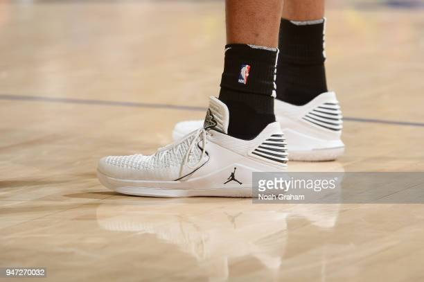 The sneakers of LaMarcus Aldridge of the San Antonio Spurs are seen during the game against the Golden State Warriors in Game Two of Round One of the...