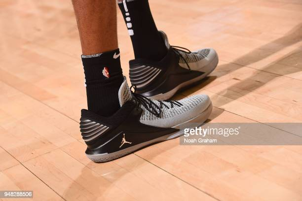 The sneakers of LaMarcus Aldridge of the San Antonio Spurs are seen in Game One of Round One of the 2018 NBA Playoffs against the Golden State...