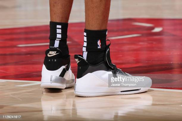 The sneakers of LaMarcus Aldridge of the San Antonio Spurs during the game against the Atlanta Hawks on March 6 2019 at State Farm Arena in Atlanta...