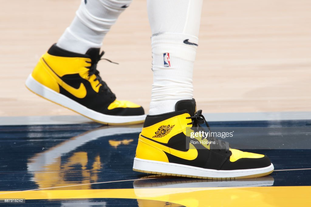 The sneakers of Lance Stephenson #1 of the Indiana Pacers are seen before the game against the Chicago Bulls on December 6, 2017 at Bankers Life Fieldhouse in Indianapolis, Indiana.
