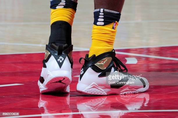 The sneakers of Lance Stephenson of the Indiana Pacers during the game against the Atlanta Hawks on December 20 2017 at Philips Arena in Atlanta...