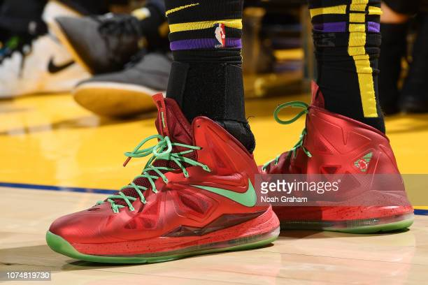 The sneakers of Lance Stephenson of the Los Angeles Lakers are seen against the Golden State Warriors on December 25 2018 at ORACLE Arena in Oakland...