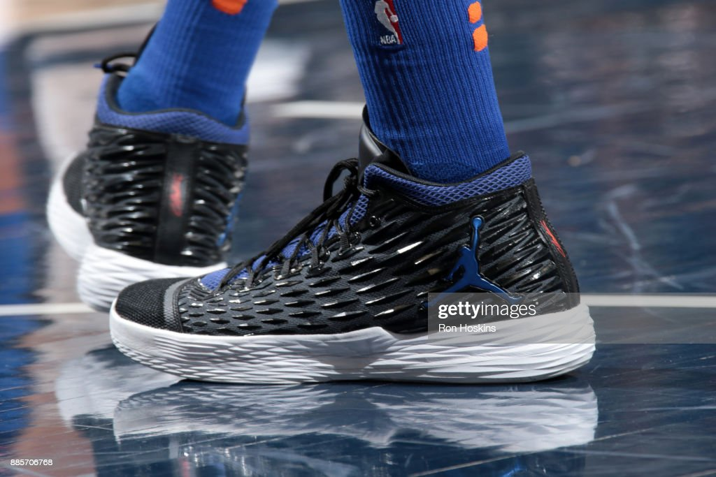 The sneakers of Lance Thomas #42 of the New York Knicks during the game against the Indiana Pacers on December 4, 2017 at Bankers Life Fieldhouse in Indianapolis, Indiana.