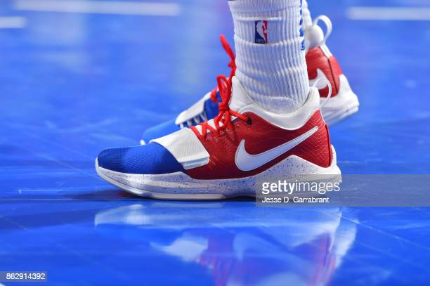 The sneakers of Langston Galloway of the Detroit Pistons are seen during the game against the Charlotte Hornets on October 18 2017 at Little Caesars...