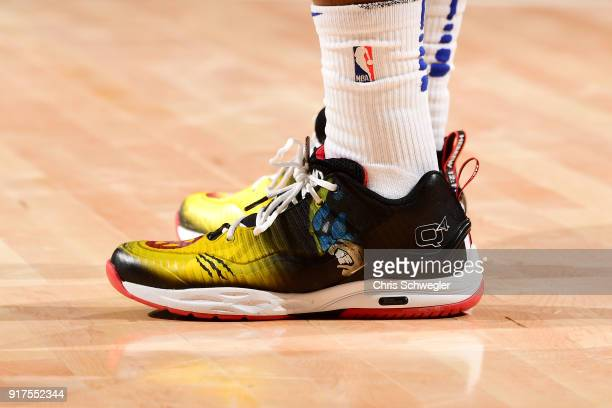 The sneakers of Langston Galloway of the Detroit Pistons are seen during the game against the New Orleans Pelicans on February 12 2018 at Little...