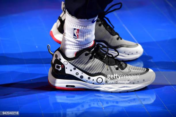 The sneakers of Langston Galloway of the Detroit Pistons are seen before the game against the Philadelphia 76ers on April 4 2018 at Little Caesars...