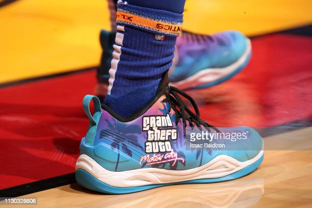 The sneakers of Langston Galloway of the Detroit Pistons are worn during a game against the Miami Heat on March 13 2019 at American Airlines Arena in...