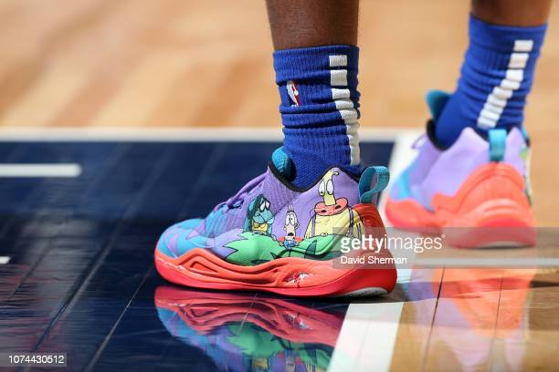 The sneakers of Langston Galloway of the Detroit Pistons during the game against the Minnesota Timberwolves on December 19 2018 at Target Center in...
