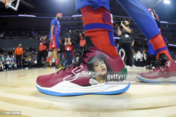 The sneakers of Langston Galloway of the Detroit Pistons during the game against the Dallas Mavericks on December 12 2019 at Arena Ciudad de Mexico...