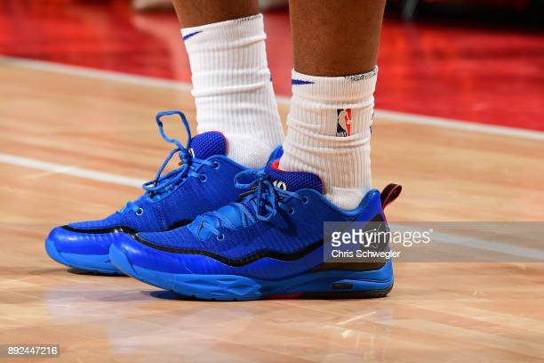 The sneakers of Langston Galloway of the Detroit Pistons during the game against the Denver Nuggets on December 12 2017 at Little Caesars Arena in...