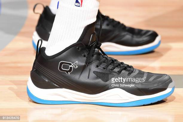 The sneakers of Langston Galloway of the Detroit Pistons during the game against the Memphis Grizzlies on February 1 2018 at Little Caesars Arena in...