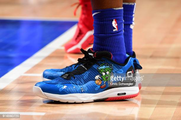 The sneakers of Langston Galloway of the Detroit Pistons during the game against the LA Clippers on February 9 2018 at Little Caesars Arena in...