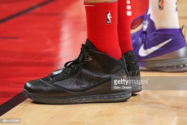 The sneakers of Lauri Markkanen of the Chicago Bulls during the game against the Sacramento Kings on December 1 2017 at the United Center in Chicago...