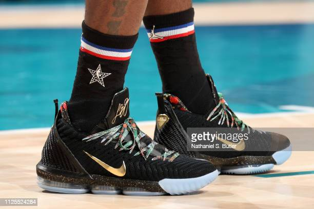 The sneakers of LeBron James of Team LeBron are worn during the 2019 NBA AllStar Game on February 17 2019 at the Spectrum Center in Charlotte North...
