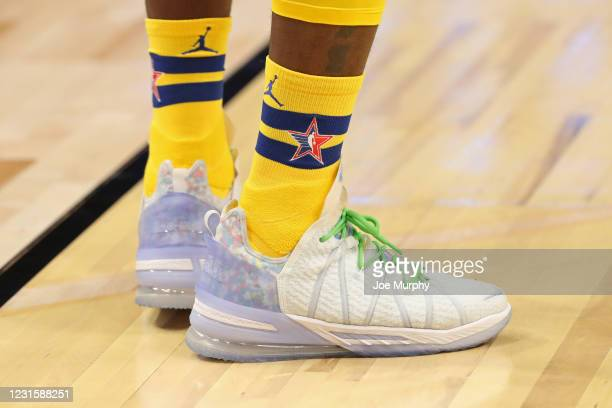 The sneakers of LeBron James of Team LeBron during the 70th NBA All Star Game as part of 2021 NBA All Star Weekend on March 7, 2021 at State Farm...