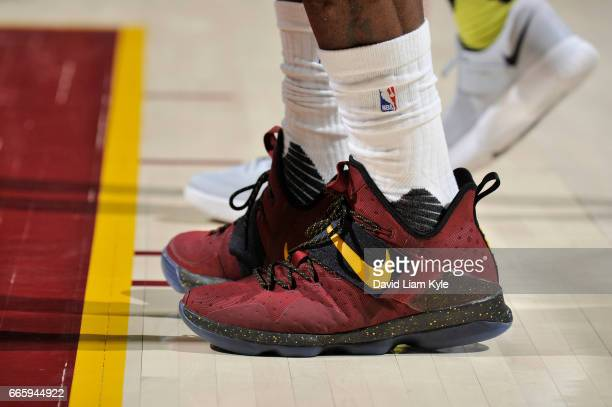The sneakers of LeBron James of the Cleveland Cavaliers are seen during a game against the Atlanta Hawks on April 7 2017 at Quicken Loans Arena in...