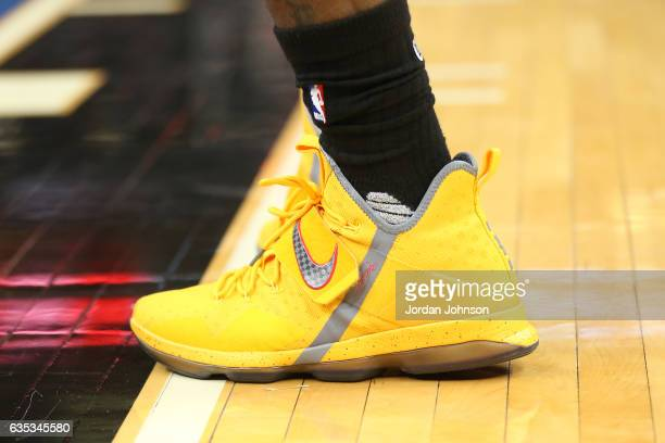 The sneakers of LeBron James of the Cleveland Cavaliers are seen during the game against the Minnesota Timberwolves on February 14 2017 at Target...