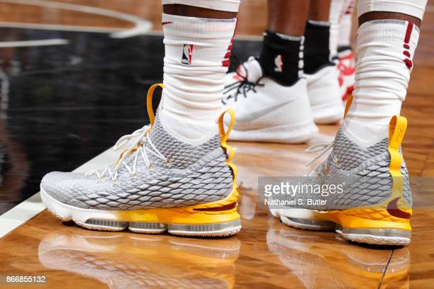 The sneakers of LeBron James of the Cleveland Cavaliers are seen during the game against the Brooklyn Nets on October 25 2017 at Barclays Center in...