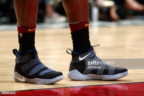 The sneakers of LeBron James of the Cleveland Cavaliers are seen during the game against the Chicago Bulls on December 4 2017 at the United Center in...