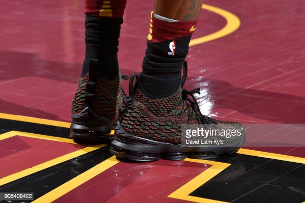 The sneakers of LeBron James of the Cleveland Cavaliers are seen during the game against the Golden State Warriors on January 15 2018 at Quicken...