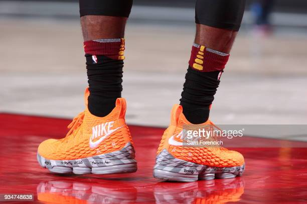 The sneakers of LeBron James of the Cleveland Cavaliers are seen during the game against the Portland Trail Blazers on March 15 2018 at the Moda...