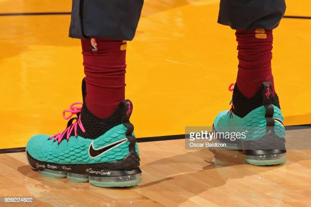 f88671ba265 The sneakers of LeBron James of the Cleveland Cavaliers before the game  against the Miami Heat