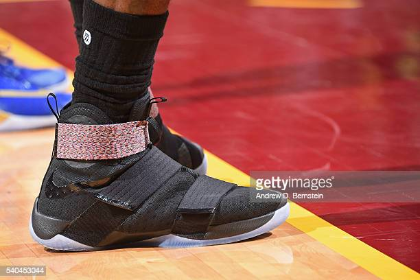The sneakers of LeBron James of the Cleveland Cavaliers during Game Four of the 2016 NBA Finals against the Golden State Warriors at The Quicken...