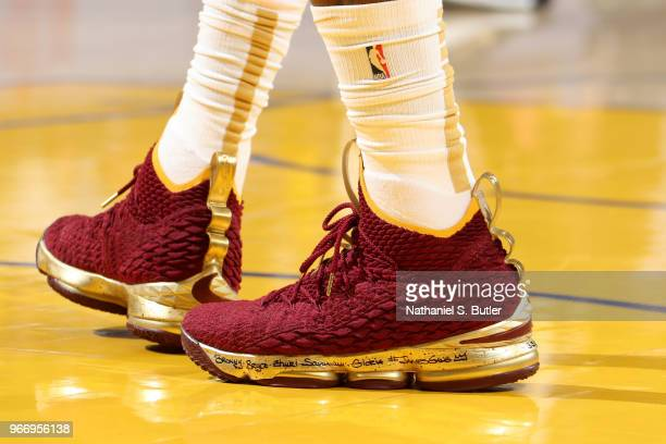 The sneakers of LeBron James of the Cleveland Cavaliers in Game Two of the 2018 NBA Finals against the Golden State Warriors on June 3 2018 at ORACLE...