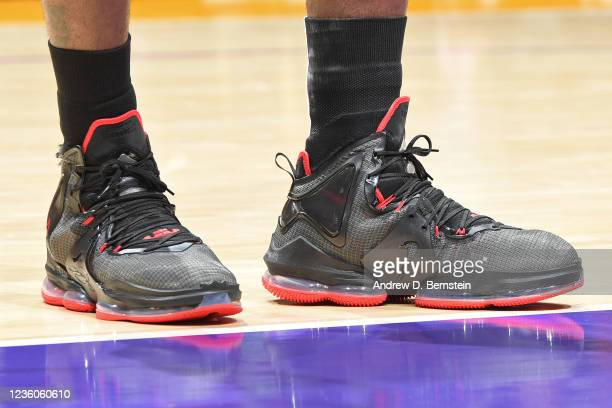 The sneakers of LeBron James of the Los Angeles Lakers against the Phoenix Suns on October 22, 2021 at STAPLES Center in Los Angeles, California....