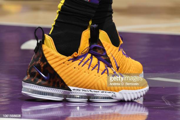 the sneakers of LeBron James of the Los Angeles Lakers are seen against the Portland Trail Blazers on November 14 2018 at STAPLES Center in Los...