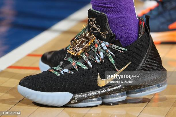 The sneakers of LeBron James of the Los Angeles Lakers are seen against the New York Knicks on March 17 2019 at Madison Square Garden in New York...