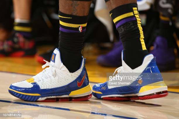 The sneakers of LeBron James of the Los Angeles Lakers are worn during a game against the Golden State Warriors on December 25 2018 at ORACLE Arena...
