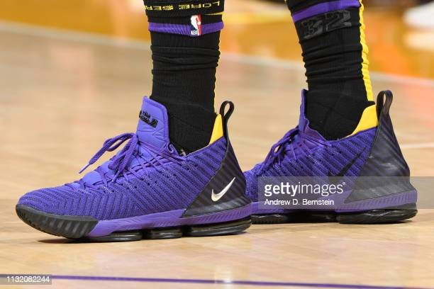 The sneakers of LeBron James of the Los Angeles Lakers are worn during a game against the Brooklyn Nets on March 22 2019 at STAPLES Center in Los...