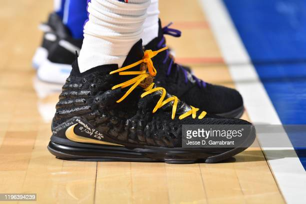 The sneakers of LeBron James of the Los Angeles Lakers are worn during a game against the Philadelphia 76ers on January 25 2020 at the Wells Fargo...