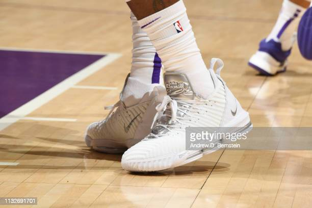 The sneakers of LeBron James of the Los Angeles Lakers as seen during the game against the Sacramento Kingson March 24 2019 at STAPLES Center in Los...