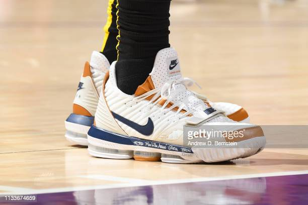 The sneakers of LeBron James of the Los Angeles Lakers as seen during the game against the Charlotte Hornets on March 29 2019 at STAPLES Center in...