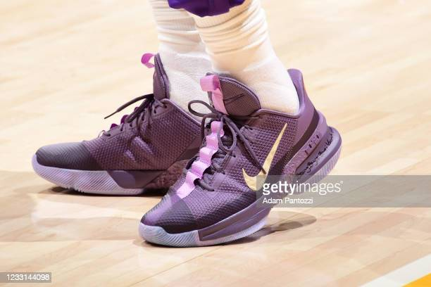 The sneakers of LeBron James of the Los Angeles Lakers before the game against the Phoenix Suns during Round 1, Game 3 of the 2021 NBA Playoffs on...