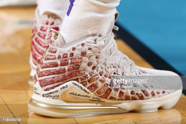 The sneakers of LeBron James of the Los Angeles Lakers during a game against the Oklahoma City Thunder on November 22 2019 at Chesapeake Energy Arena...