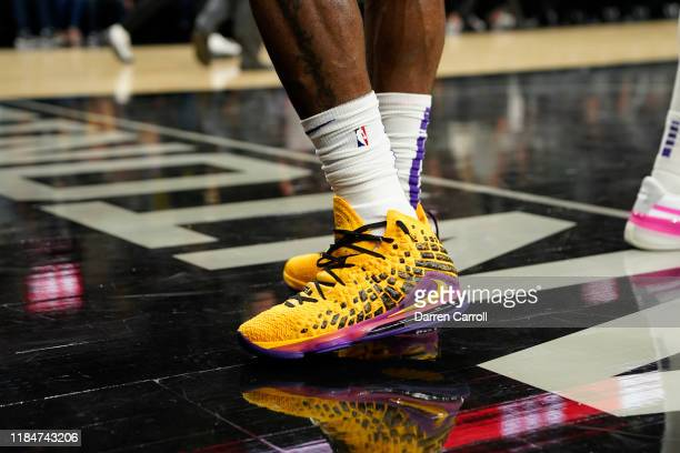 The sneakers of LeBron James of the Los Angeles Lakers during a game against the San Antonio Spurs on November 25 2019 at the ATT Center in San...