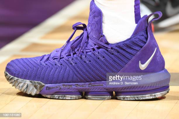 The sneakers of LeBron James of the Los Angeles Lakers during the game against the Atlanta Hawks on November 11 2018 at STAPLES Center in Los Angeles...