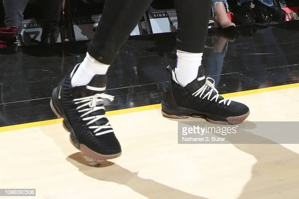 The sneakers of LeBron James of the Los Angeles Lakers during the game against the Cleveland Cavaliers on November 21 2018 at Quicken Loans Arena in...