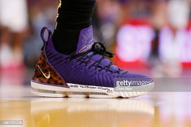 The sneakers of LeBron James of the Los Angeles Lakers during the game against the Utah Jazz on November 23 2018 at the STAPLES Center in Los Angeles...
