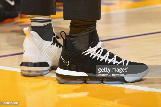The sneakers of LeBron James of the Los Angeles Lakers during the game against the Golden State Warriors on January 21 2019 at STAPLES Center in Los...