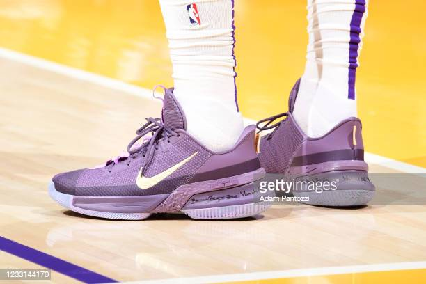 The sneakers of LeBron James of the Los Angeles Lakers during the game against the Phoenix Suns during Round 1, Game 3 of the 2021 NBA Playoffs on...