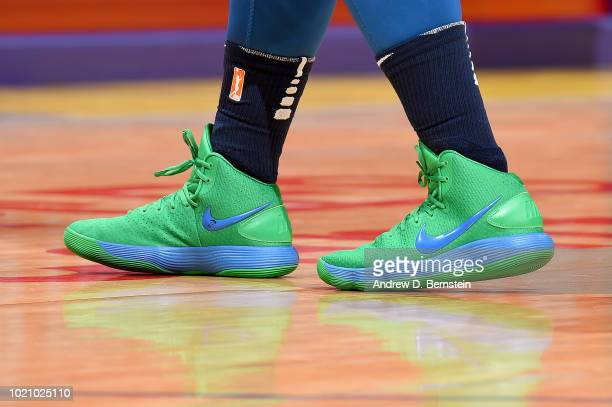 The sneakers of Lindsay Whalen of the Minnesota Lynx are seen during the game against the Los Angeles Sparks in Round One of the 2018 WNBA Playoffs...