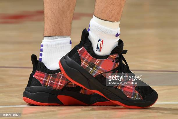 The sneakers of Lonzo Ball of the Los Angeles Lakers are worn during a game against the Cleveland Cavaliers on January 13 2019 at STAPLES Center in...