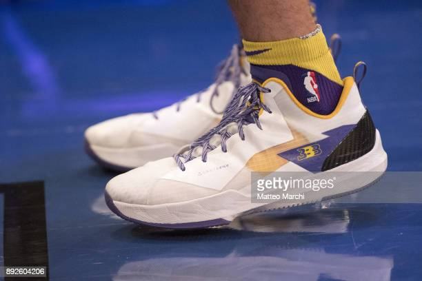 The sneakers of Lonzo Ball of the Los Angeles Lakers before the game against the New York Knicks at Madison Square Garden on December 12 2017 in New...